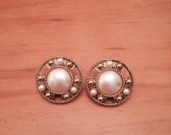 Vintage Monet faux pearl clip on earrings