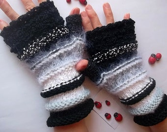 SALE 20% OFF GLOVES Fingerless Mittens Women Hand Knitted Cabled Romantic Striped Warm Accessories Gift Elegant Wrist Warmers Winter Arm 870