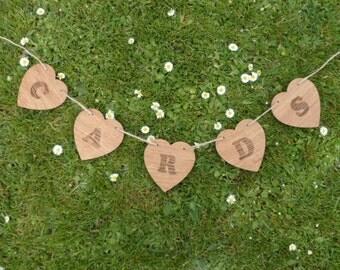 Oak 'Cards' Heart Bunting