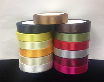 """5/8""""Single Side Satin Ribbon 13 Colors.15 yards/roll.Selling Per Roll"""