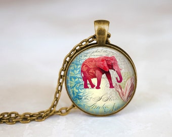 Vintage Red Elephant Handmade Pendant Necklace