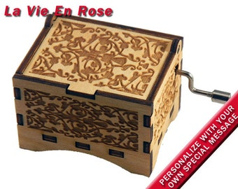 "Music Box, ""La Vie En Rose"", Laser Engraved Wood Hand Crank Music Box"