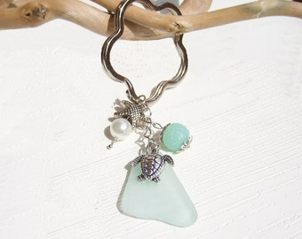 Sea Glass Keychain, Beach Keychain, Car Accessories, Seaglass Keychain Starfsh Pearl, Beach Glass Keyring, Beach Gift, Flip Flop Keychain