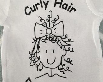 BABY - CURLY HAIR Don't Care, onesie, bodysuit, t shirt, infant, newborn, coming home layette, baby shower