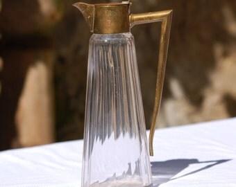 Carafe glass and brass Vintage - 1960 - France