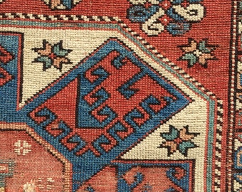 Antique Anatolian Bergama Turkish Rug Fragment 19th Century Holbein Pattern 4ft10 x 6ft2