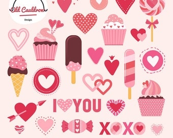 Valentine's day clipart, hearts clipart, sweets clipart, vector clipart, vector graphics CL019