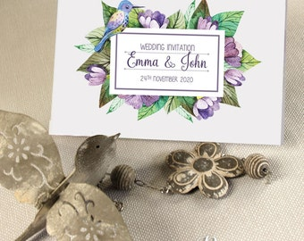Violet Elements Personalised Folded Day Wedding Invitations