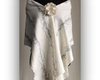White Cream Beige Fashion silk wool nuno felted stole shawl with flower brooch. One of a kind. High fashion ware. Wool felt stole wrap.