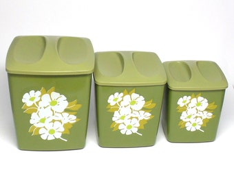 Vintage Canister Set - Avocado Canisters with Daisy Design