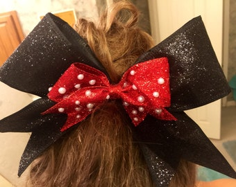 Minne Mouse Inspired Cheer Bow 2.5 inch ribbon