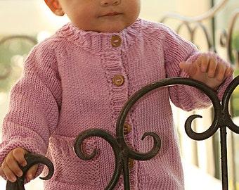 Jacket, handknit,  baby cardigan, merino wool superwash, for baby, child (not the hat, not the booties)