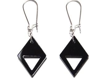 Diamond Cutout Dangle Earrings in Black, Diamond Cutout Earrings, Black Dangles, Titanium Earrings, Titanium Dangles, Geometric Dangles
