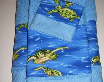 GIFT SET TOWELS   Turtle Design   Blue Set Towels   Turtle Towel Decor    Turtle