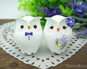 Custom Owl Wedding Cake Toppers Purple Theme- Unique Owl Bride And Groom  Country Wedding Cake Toppers