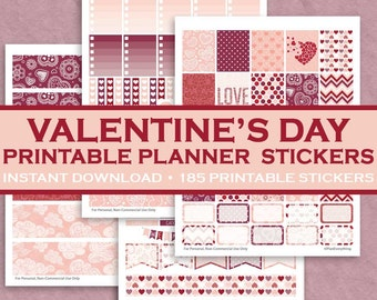 Romantic Valentine's Day Printable Planner Stickers - 185 Printable Stickers - Pink, Red & Purple - February - Downloadable Letter Size PDF