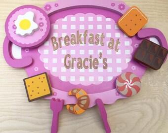 Wooden Personalised Breakfast Set Breakfast In Bed Engraved Breakfast Set For Her Or Him