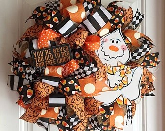 Halloween Wreath, Ghost Wreath, Halloween Ghost Wreath, Candy Corn Wreath, Friendly Ghost, Candy Corn, Halloween Decor, Halloween Decoration