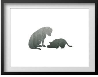 Lab and Cat Print, DIY Printable Gray Watercolor Golden Retriever Labrador Dog Cat Print Art Picture, Rustic Animal Art, DIY Animal Art