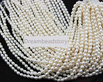 High Luster 6-7mm 8-9mm White Rice Pearl Beads, Good Quality Loose Pearl Beads Supplier (XMZ43/44)