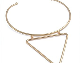 Triangle Collar Necklace Minimalist Solid Brass Statement Geometric Simple Gold Jewelry Gift BN386-G