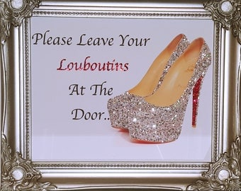 Unique 10x8 Shabby Chic Louboutins Canvas Print Crystals, Glitter..