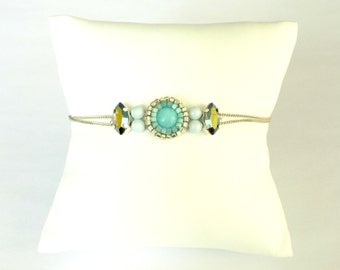 Silver bracelet with embroidered crystal and Amazonite stones