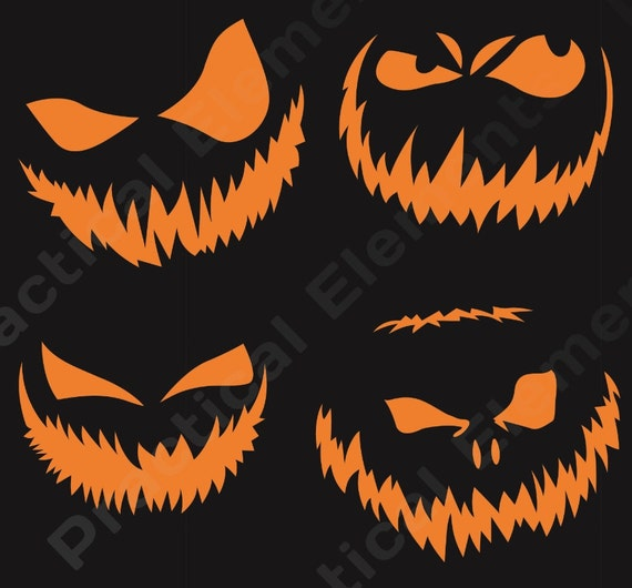 Scary Pumpkin Carving Patterns: Halloween Pumpkin Face Templates Scary Pumpkin Face Carving