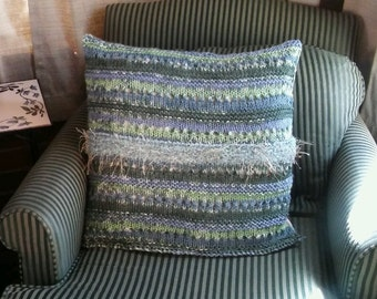 Kelly Ripa fabric, yarn pillow, blue pillow, trellis fabric, handknit pillow, green pillow, pillow cover, throw pillow cover