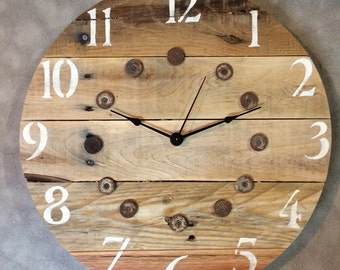 "Shotgun Shell Clock with Pallet Wood - 16"" - Sample - Similar clock made upon order."