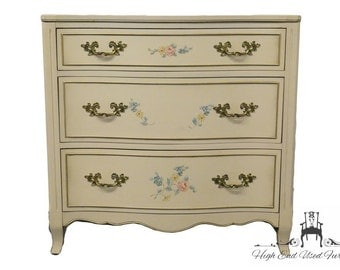 "DREXEL HERITAGE 32"" French Provincial Floral Decorated Bow Front Chest / Nightstand"