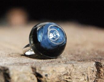 Black & Metallic Grey Resin Ring