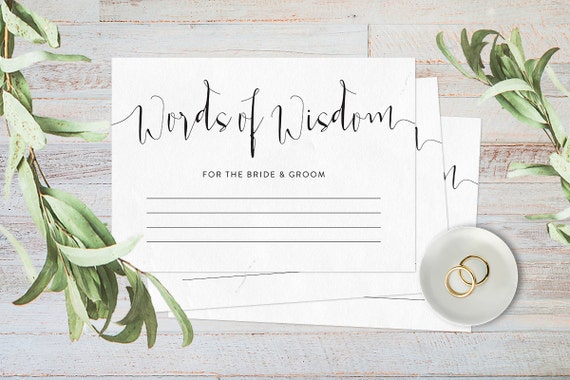 Words Of Wisdom Cards Wedding Advice Cards By