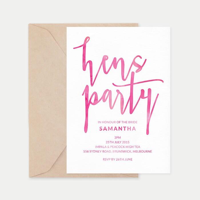 Hens party, Hens invites, Hens night invitations, Printable bridal shower invitation, Hens night, Watercolor invitation, Hens party invites
