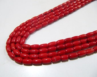 Bamboo Red Coral Barrel Beads / Tube Shape Beads Size 4x7mm / Sold per Strand of 16 Inches Long/ Bright Red Coral Beads/ Super Quality Beads