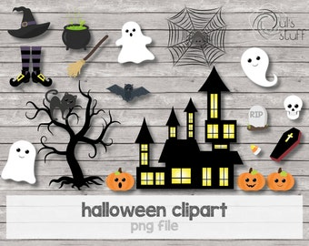 Halloween clipart, ghost, pumpkin, witch