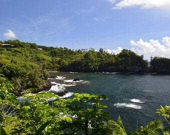 Five Digital Photos of Hawaii, Big Island, Black Sand, Coast Line, Ocean, Greenery, shore, Waterfall, cliffs, lush, water, decor, wall art