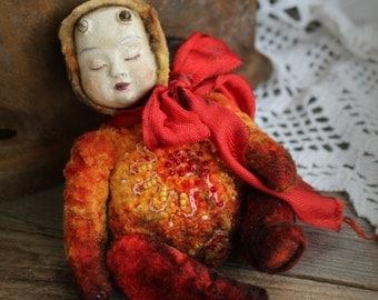 Flame little teddy doll stuffed art doll demon fire red vitage stile