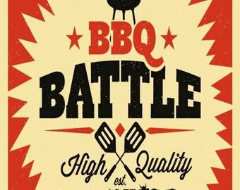 BBQ Battle Metal Sign (A5) Size no 347
