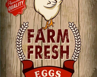 Farm Fresh Eggs, Metal Sign, No.328
