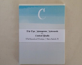 Monogram Notecard Set of 10 with Envelopes, C, Dip Dye
