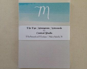 Monogram Notecard Set of 10 with Envelopes, M, Dip Dye