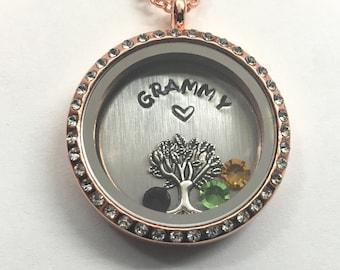 GRAMMY - Floating Charm Locket - Memory Locket - Custom Hand Stamped Gift for Mom or Grandma