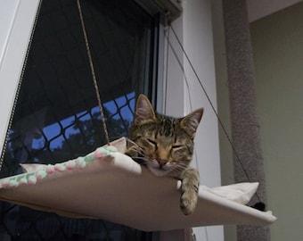 Window Cat hammock with cushion
