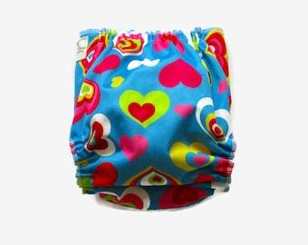 love hearts cloth diaper, ai2 cloth diaper, organic bamboo diaper, one size cloth diaper, bamboo and hemp diaper insert, girl cloth diaper
