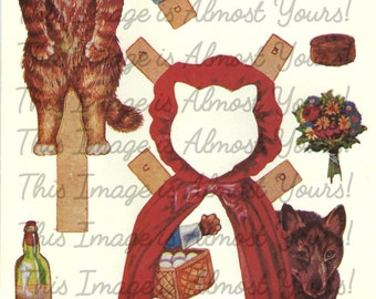 1897 Victorian Little Red Riding Cat Paper Dolls Set - Wolf - Graphic INSTANT Digital Download