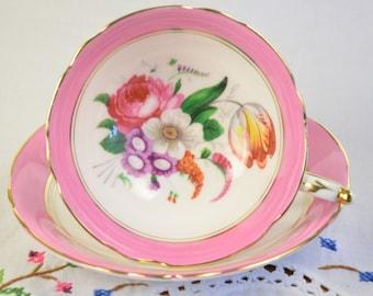 Paragon pink tea cup and saucer, pink tea cup, double warrant paragon