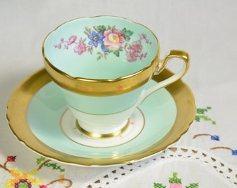 Gold Sutherland china tea cup and saucer