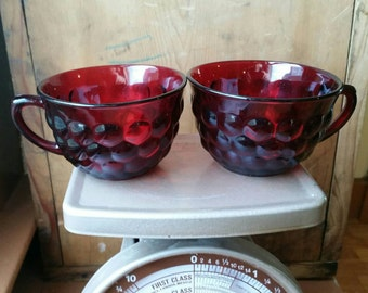 Vintage Red Glass Teacups/ Vintage Ruby Glass Teacups/ Vintage Anchor Hocking Bubble Teacups/ Red Bubble Glass Teacups/ Anchor Hocking Cups