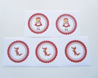 5 Little Red Riding Hood Party Stickers